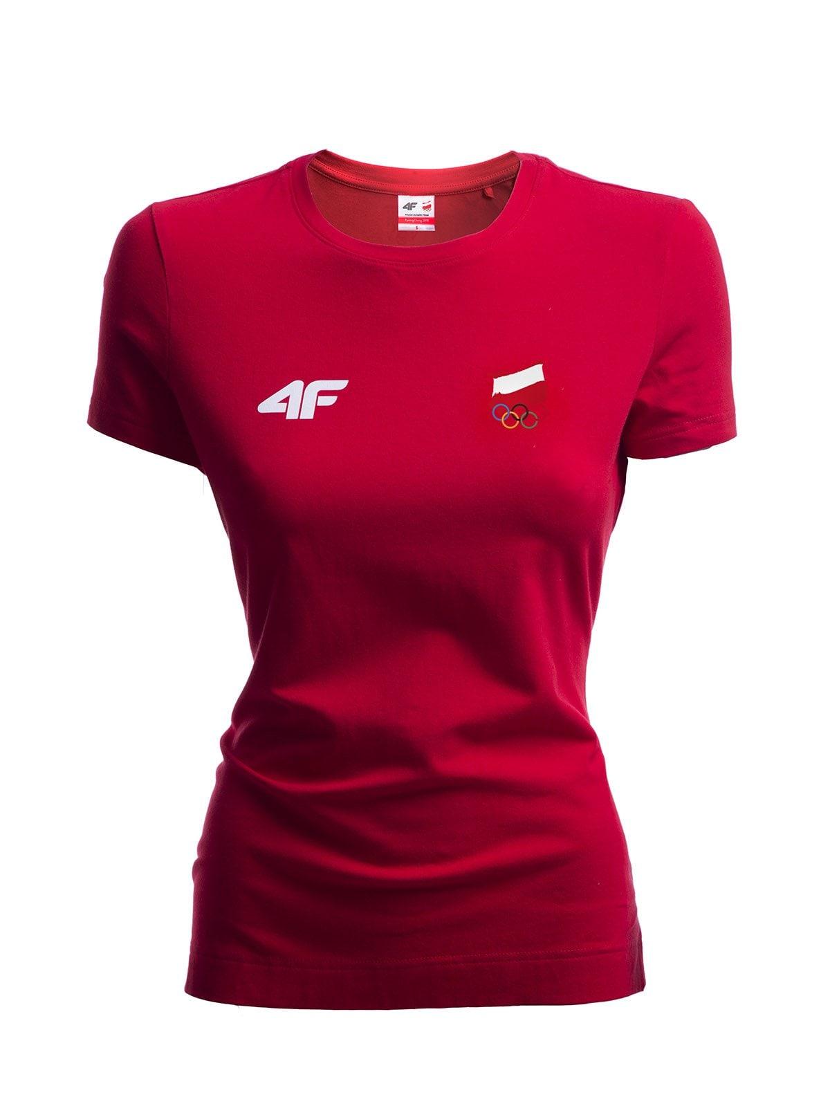 Koszulka damska Polska Pyeongchang 2018 TSD900R - czerwony wiśniowy