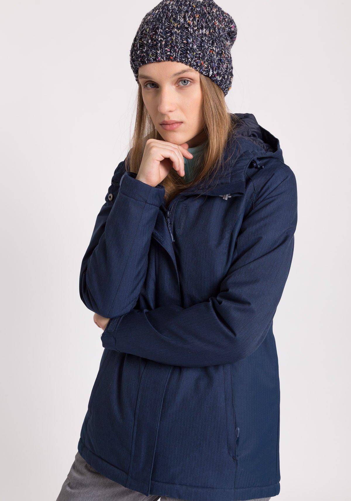 Kurtka narciarska damska KUDN302Z granatowy melanż