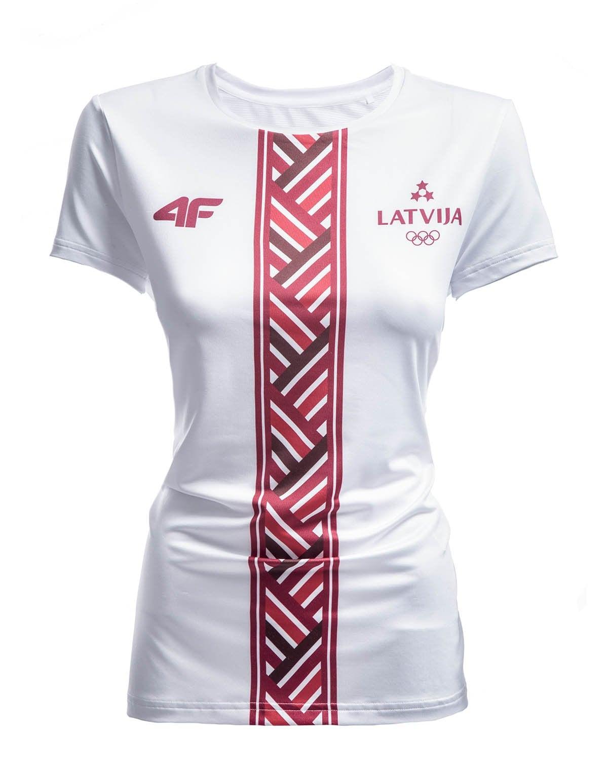 Koszulka funkcyjna damska Łotwa Pyeongchang 2018 TSDF800 - biały