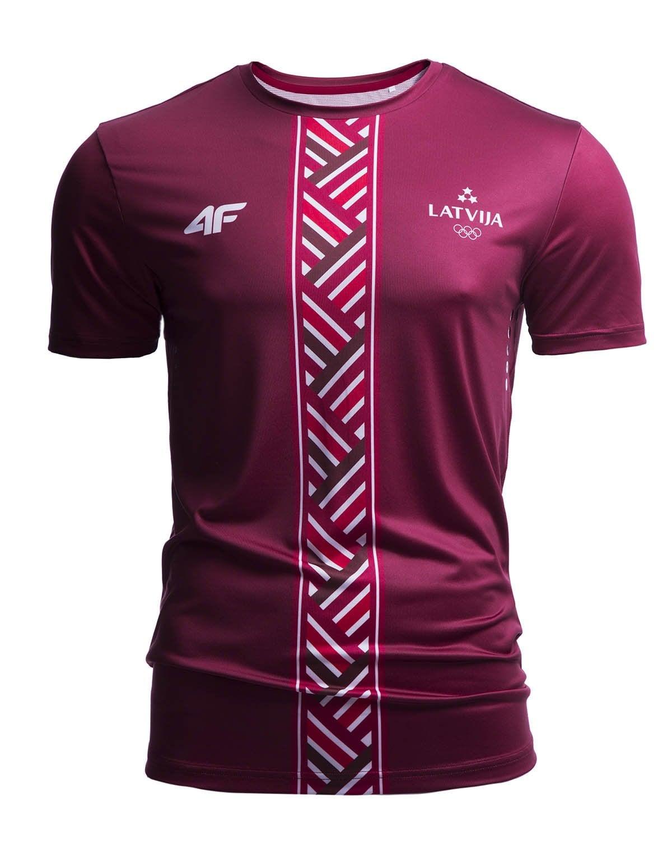 9492519827cf77 Koszulka funkcyjna męska Łotwa Pyeongchang 2018 TSMF800 - bordowy