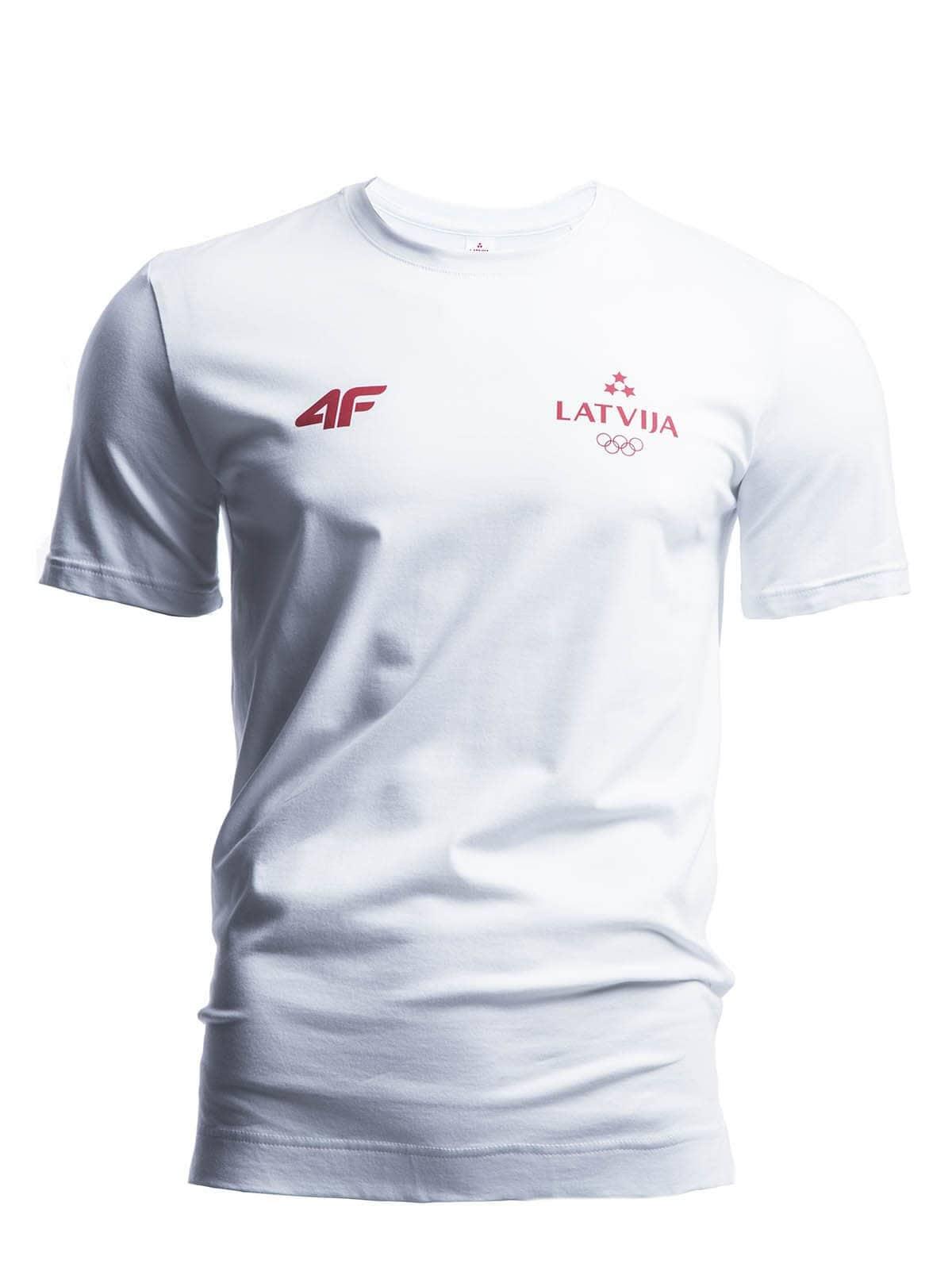 14e4fcf97594a7 Koszulka męska Łotwa Pyeongchang 2018 TSM800 - biały