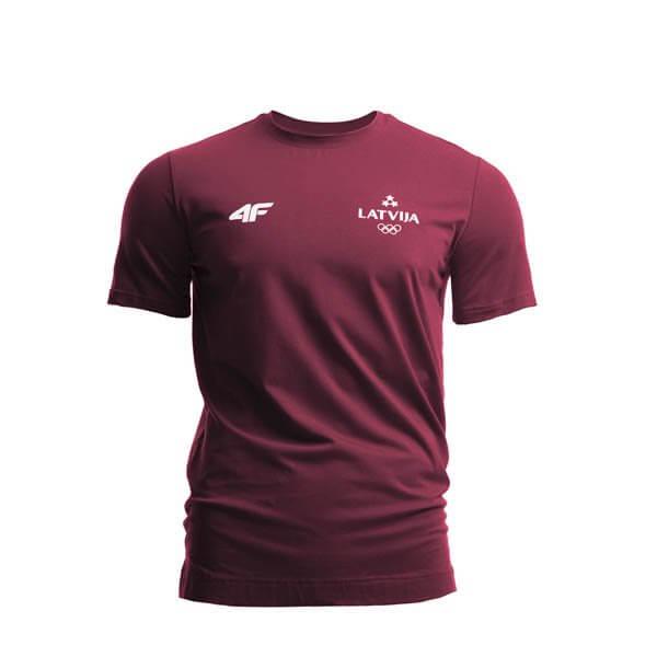 0f0ea8776510a1 Koszulka męska Łotwa Pyeongchang 2018 TSM800 - bordowy