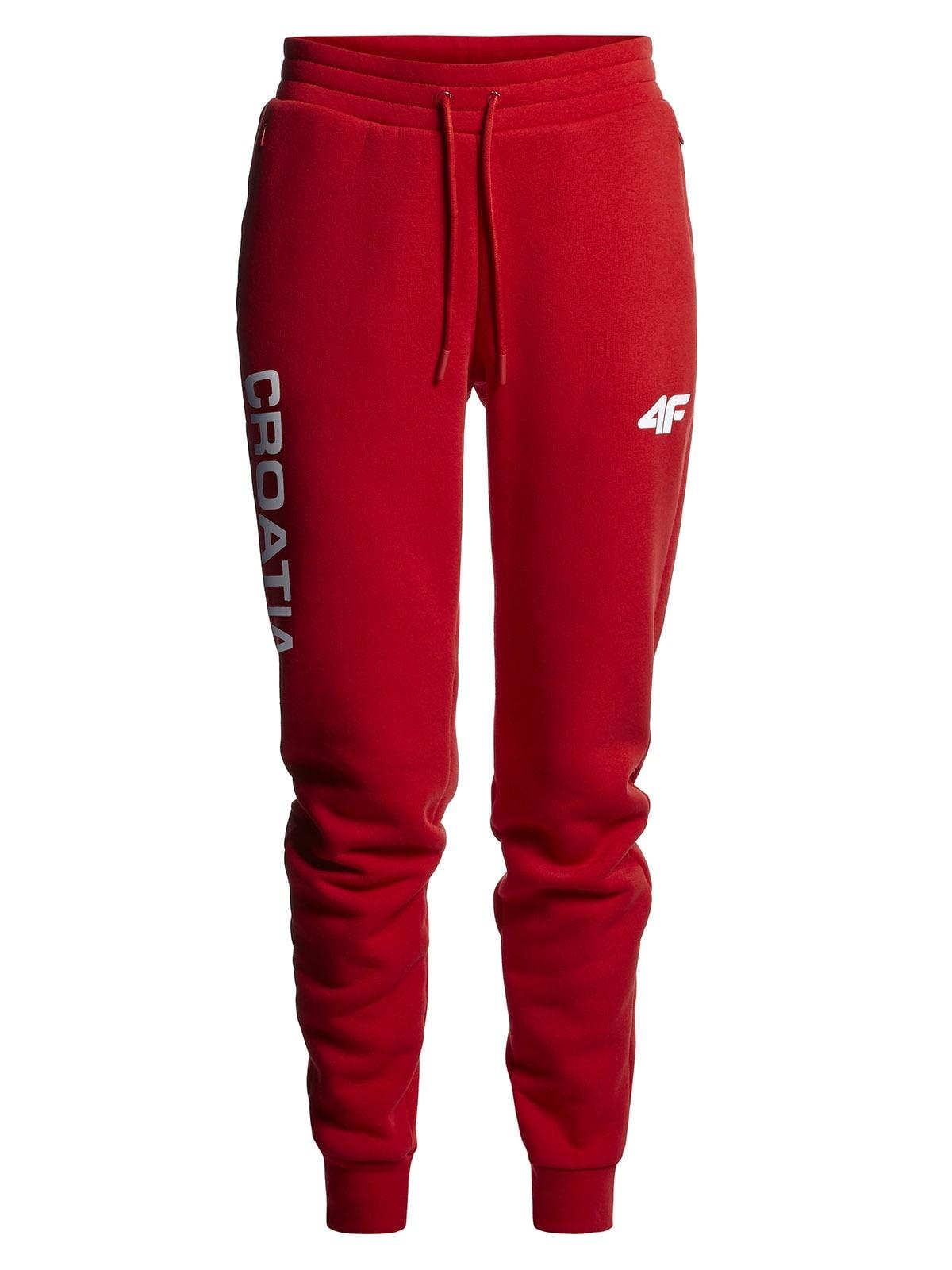 Spodnie dresowe damskie Chorwacja Pyeongchang 2018 SPDD750 - czerwony wiśniowy