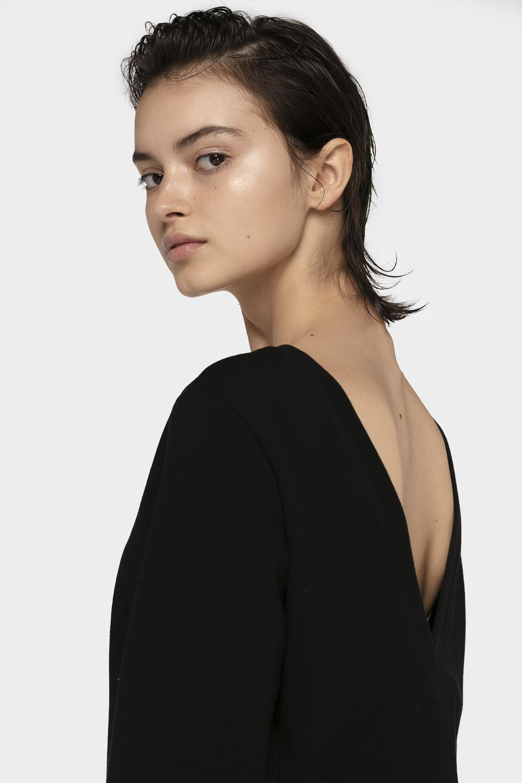 Bluza damska V-neck BLD703 - głęboka czerń