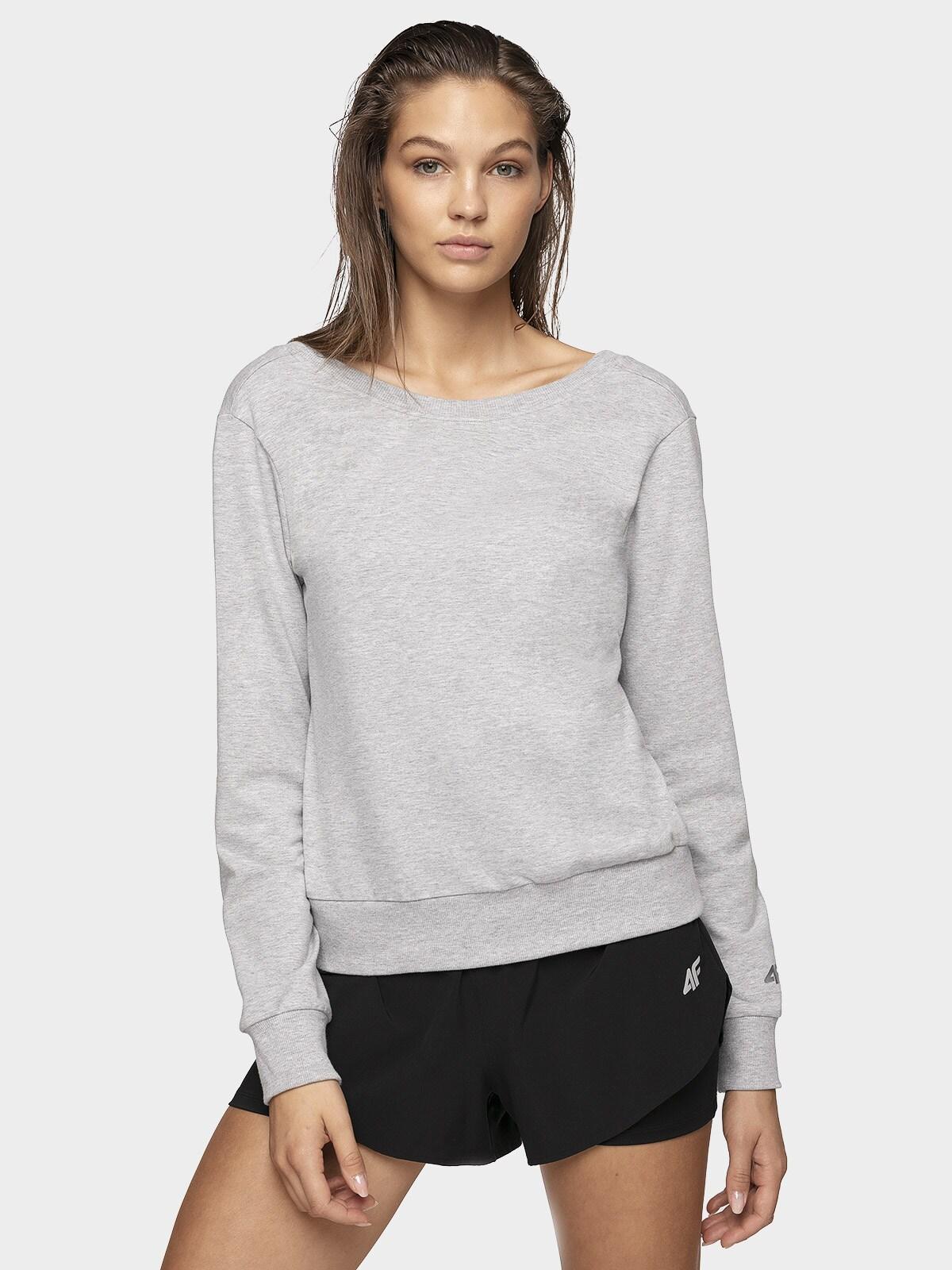 Bluza damska V-neck BLD703 - chłodny jasny szary melanż