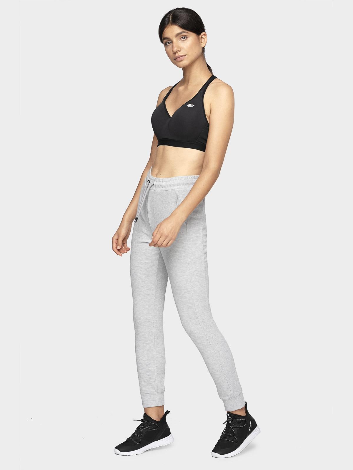 Spodnie dresowe damskie SPDD401 - chłodny jasny szary melanż