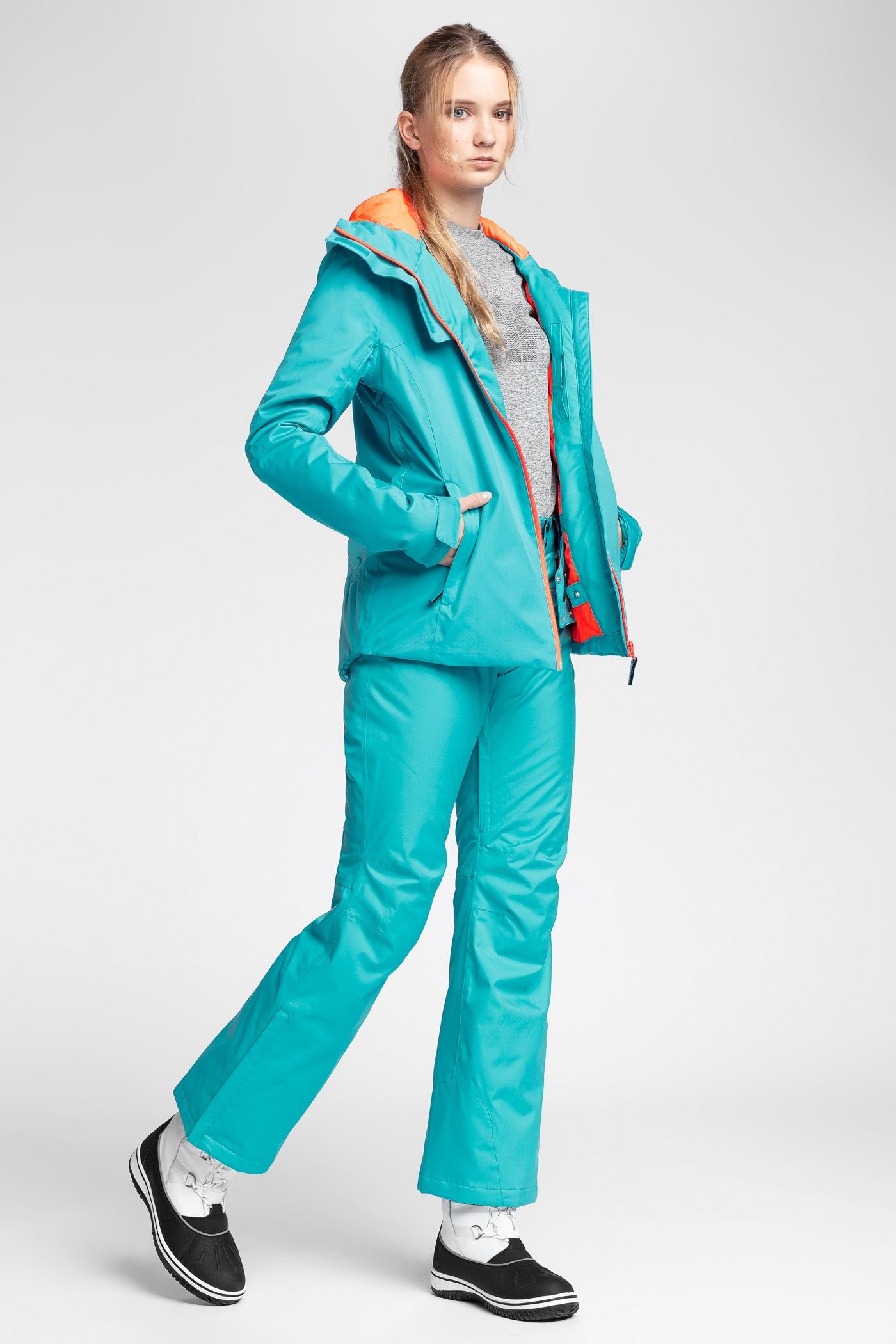 7c1a745159a59 Kurtka narciarska damska KUDN301 - błękit turkusowy