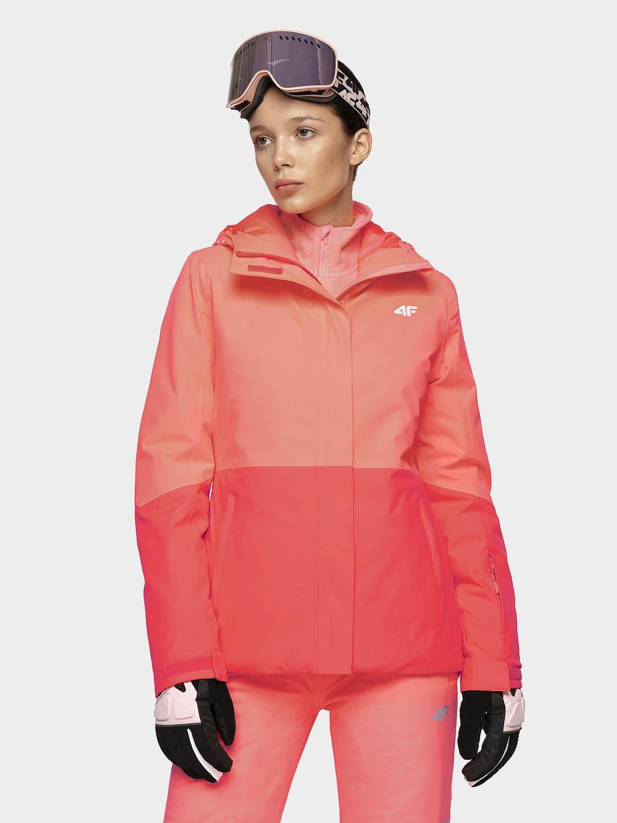 Kurtka narciarska damska KUDN302 - koral neon