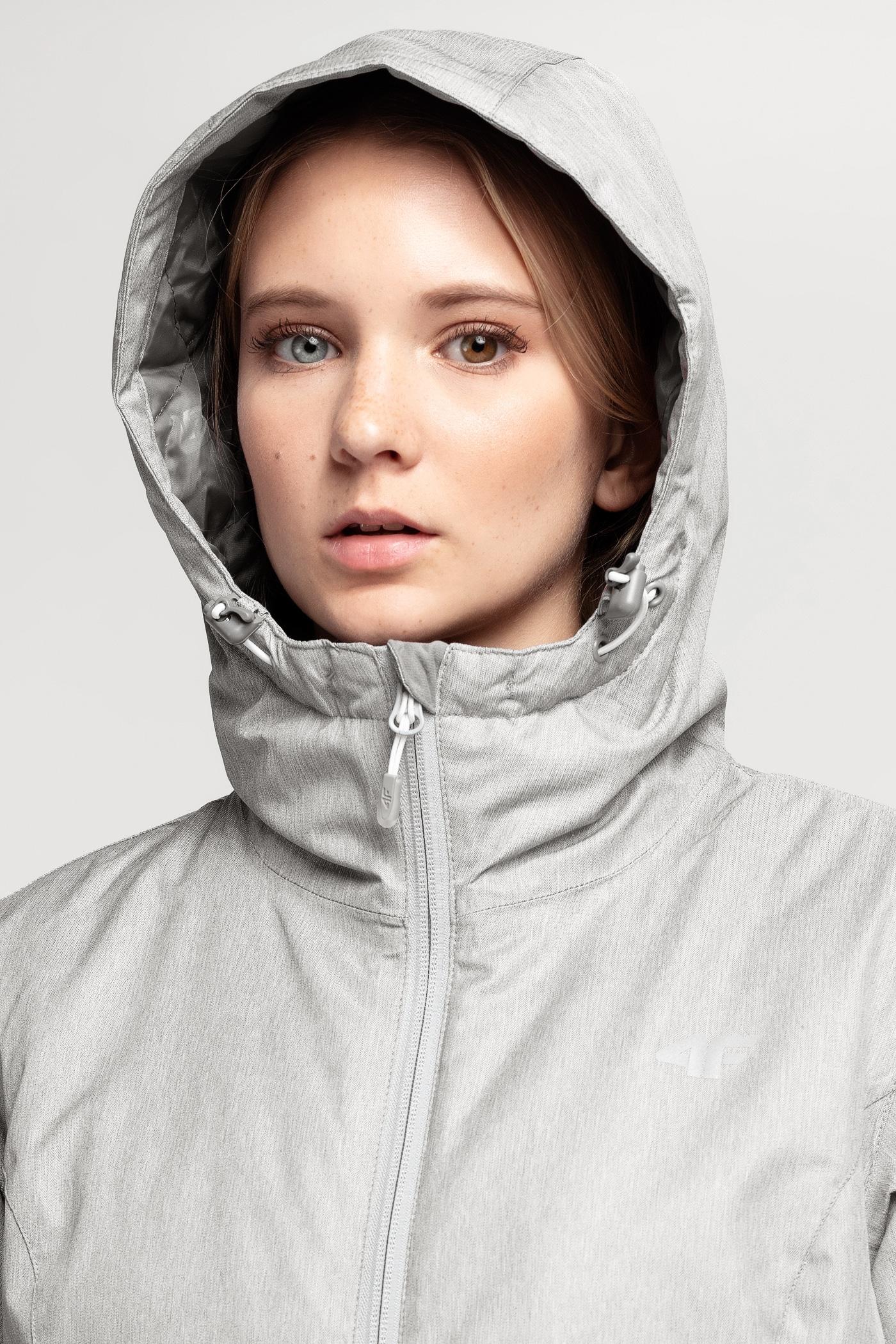 a5ba41edbce607 Kurtka narciarska damska KUDN002 - chłodny jasny szary melanż