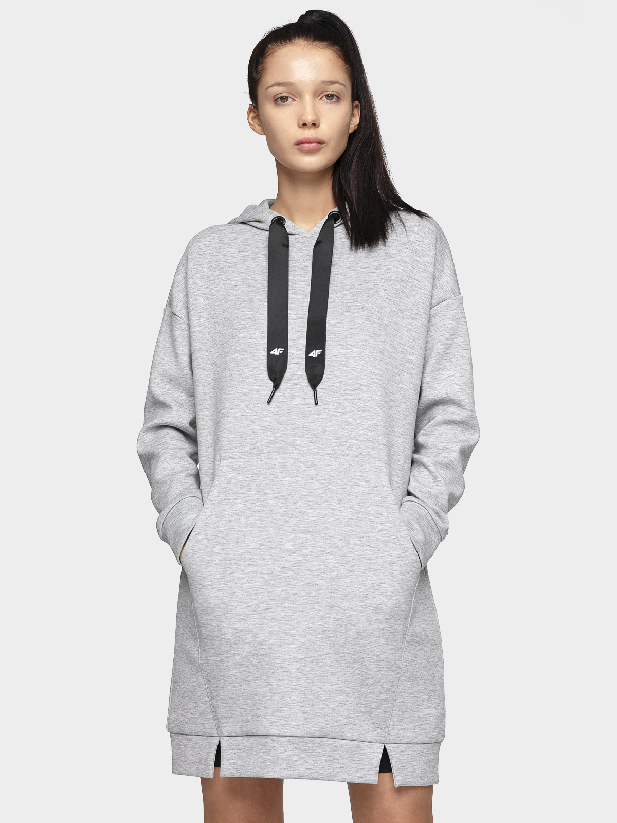 Bluza damska BLD006 - chłodny jasny szary melanż