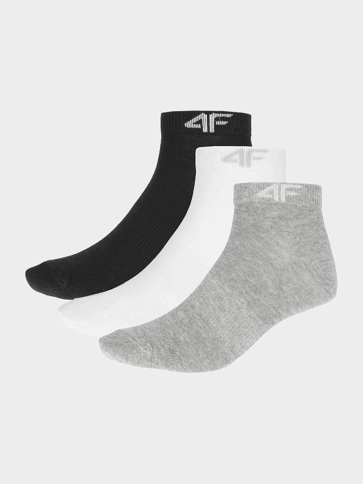 Dámské ponožky (3 páry) SOD002 - chladný světlé šedý melír+bílé+hluboké -