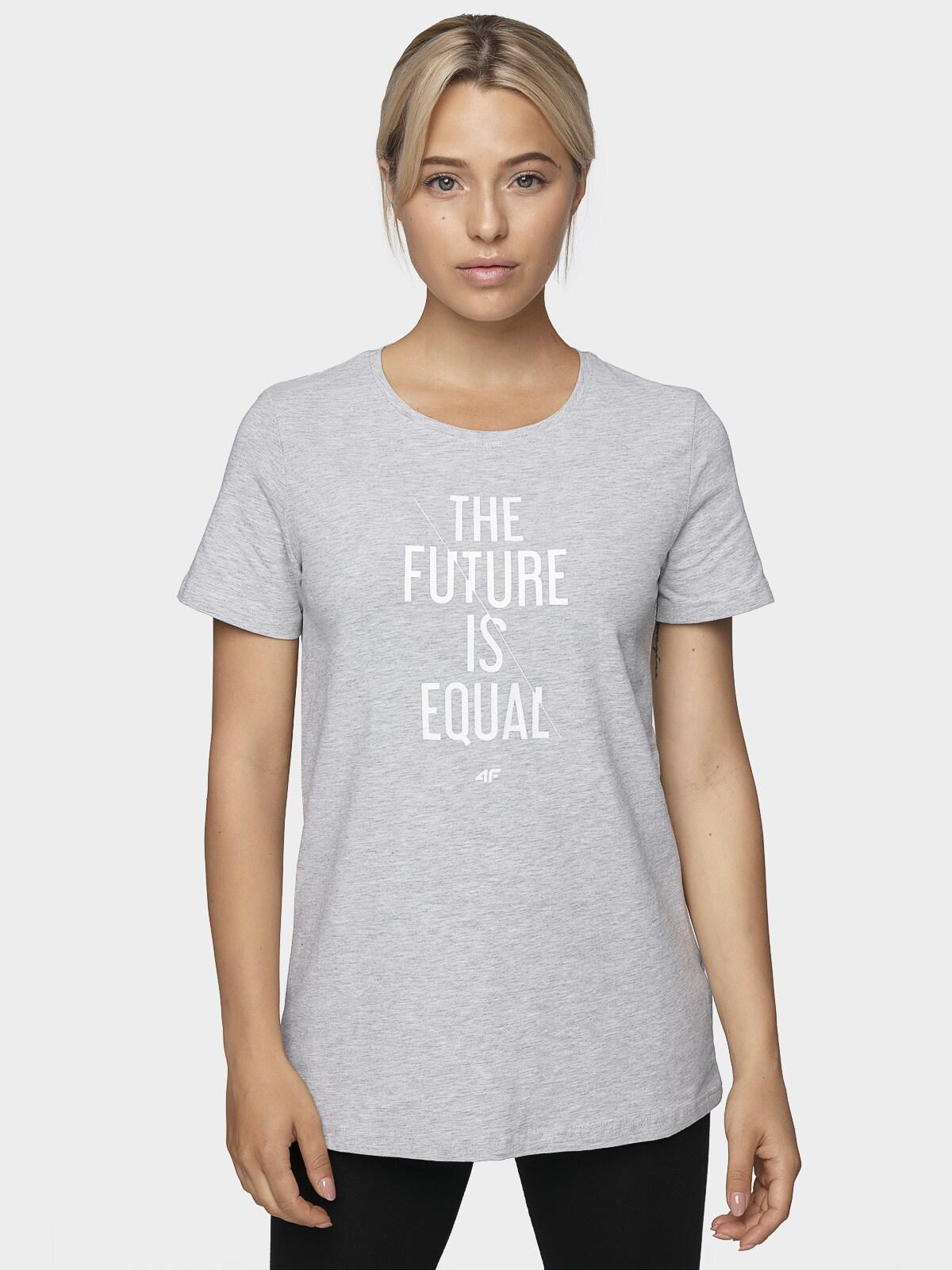 T-shirt damski TSD007 - chłodny jasny szary melanż