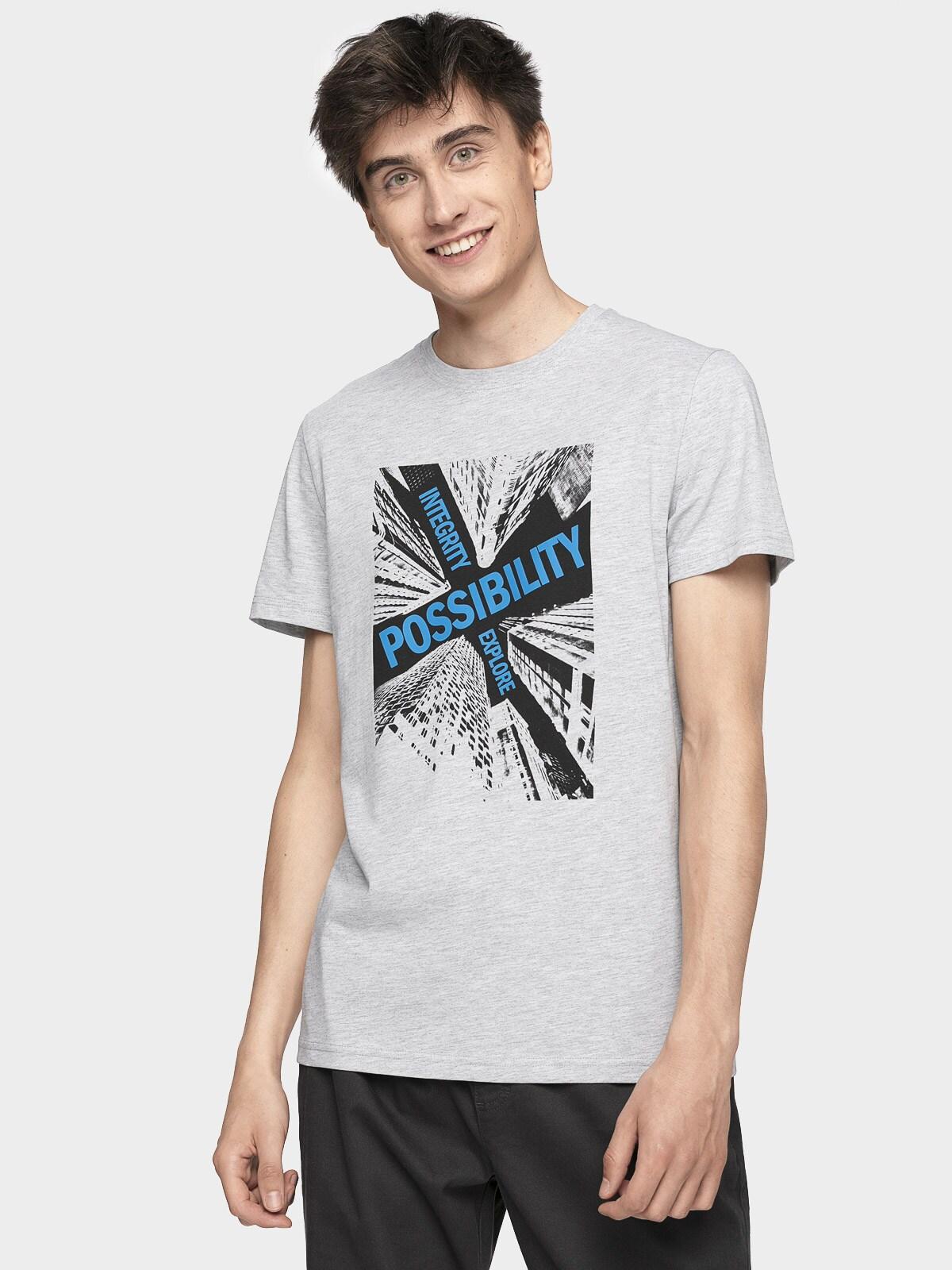 Tricou pentru bărbați TSM005 - gri rece deschis melanj