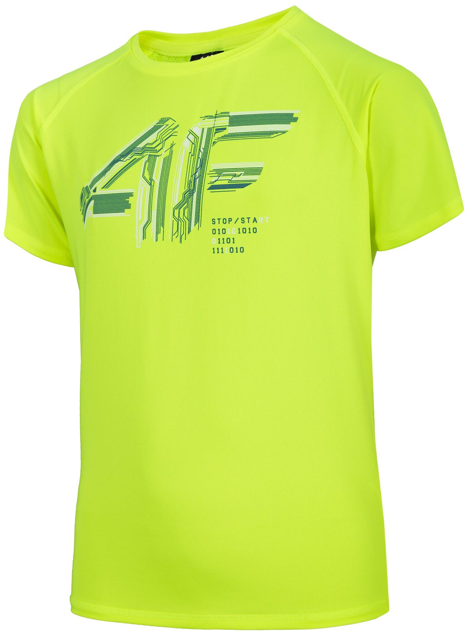 60aad6cdb78ed8 Koszulka sportowa chłopięca (122-164) JTSM400 - soczysta zieleń neon