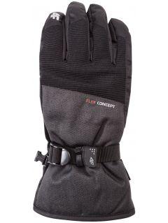 Rękawice narciarskie męskie REM251Z - ciemny szary melanż