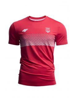 Koszulka funkcyjna męska Chorwacja Pyeongchang 2018 TSMF750 - czerwony wiśniowy