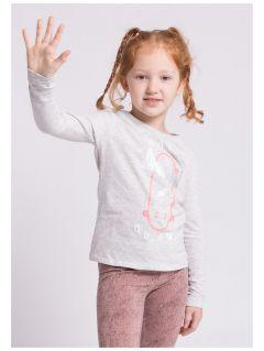 Longsleeve dla małych dziewczynek JTSDL100z - szary melanż