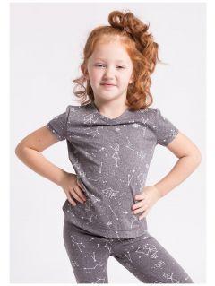 Koszulka sportowa dla małych dziewczynek JTSD302Z - szary melanż