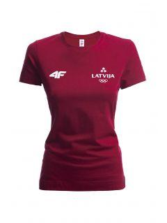 Koszulka damska Łotwa Pyeongchang 2018 TSD800 - bordowy