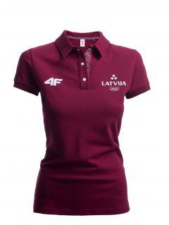 Koszulka polo damska Łotwa Pyeongchang 2018 TSD801 - bordowy