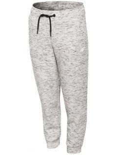 Spodnie sportowe dla małych dziewczynek JSPDTR301 - CIEPŁY JASNY SZARY