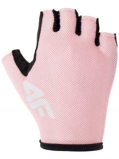 Rękawiczki rowerowe uniseks RRU300 - jasny róż