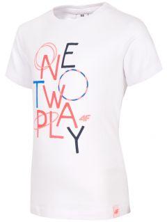 T-shirt dla małych dziewczynek JTSD108 - biały