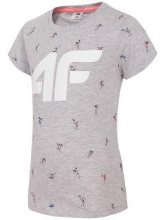 T-shirt dla małych dziewczynek JTSD107 - szary melanż