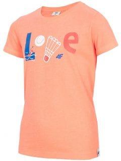 T-shirt dla dużych dziewcząt JTSD212 - koral neon