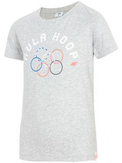 T-shirt dla dużych dziewcząt JTSD212 - szary melanż