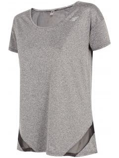 Koszulka treningowa damska TSDF304 - chłodny jasny szary melanż