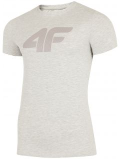 T-shirt męski TSM303 - chłodny jasny szary melanż