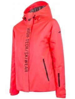 Kurtka narciarska damska KUDN162 - łososiowy neon