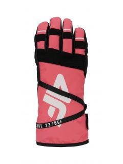 Rękawice narciarskie damskie  RED253 - łososiowy neon