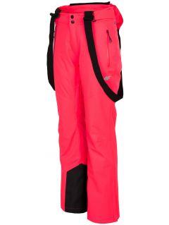 Spodnie narciarskie damskie SPDN201 - łososiowy neon