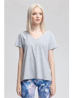 T-shirt damski TSD415 - ciepły jasny szary  melanż
