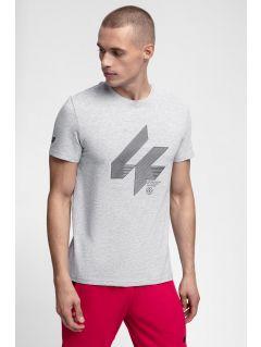 T-shirt męski TSM288 - chłodny jasny szary melanż