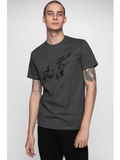 T-shirt męski TSM004 - ciemny szary melanż