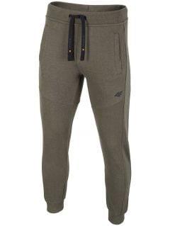 Spodnie dresowe męskie SPMD002 - khaki melanż