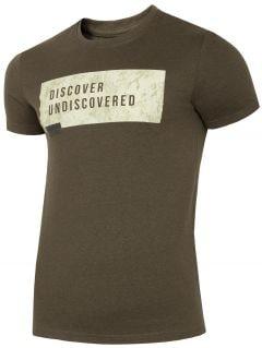 T-shirt męski TSM005 - khaki melanż