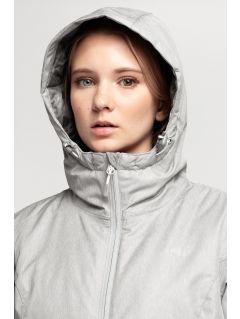 Kurtka narciarska damska KUDN002 - chłodny jasny szary melanż