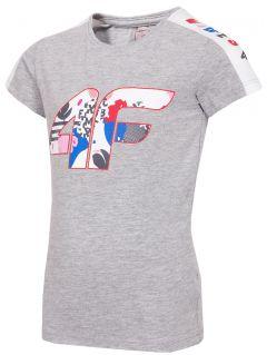 T-shirt dziewczęcy (98-116) JTSD103 - szary melanż