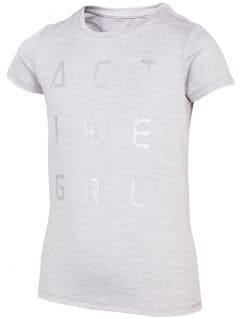 Koszulka sportowa dziewczęca (122-164) JTSD400 - szary melanż
