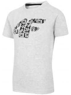 T-shirt chłopięcy (98-116) JTSM101 - szary melanż