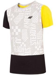 T-shirt chłopięcy (122-164) JTSM205 - szary melanż