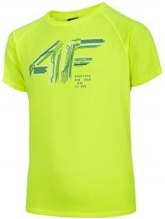 Koszulka sportowa chłopięca (122-164) JTSM400 - soczysta zieleń neon