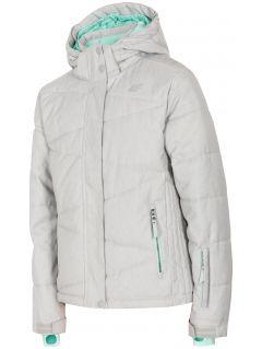 Kurtka narciarska dla dużych dzieci (dziewcząt) JKUDN400 - szary melanż