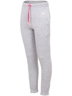 Spodnie dresowe dla małych dzieci (dziewcząt) JSPDD101 - jasny szary melanż