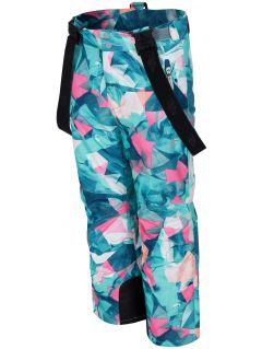 Spodnie narciarskie dla dużych dzieci (dziewcząt) JSPDN402 - mięta allover