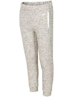 Spodnie sportowe dla dużych dzieci (dziewcząt) JSPDTR400 - chłodny jasny szary melanż